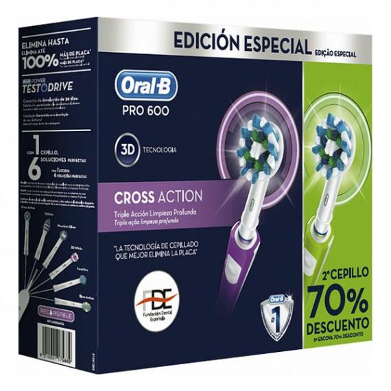 Cepillo de Dientes Eléctrico Oral-B PRO600 3D Violeta Verde Batería recargable