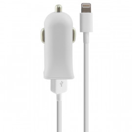 Cargador USB para Coche + Cable Lightning MFi 2.1A Blanco
